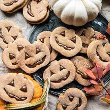 Milk Chocolate Stuffed Jack-O'-Lantern Cookies.