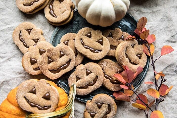 horizontal photo of Milk Chocolate Stuffed Jack-O'-Lantern Cookies