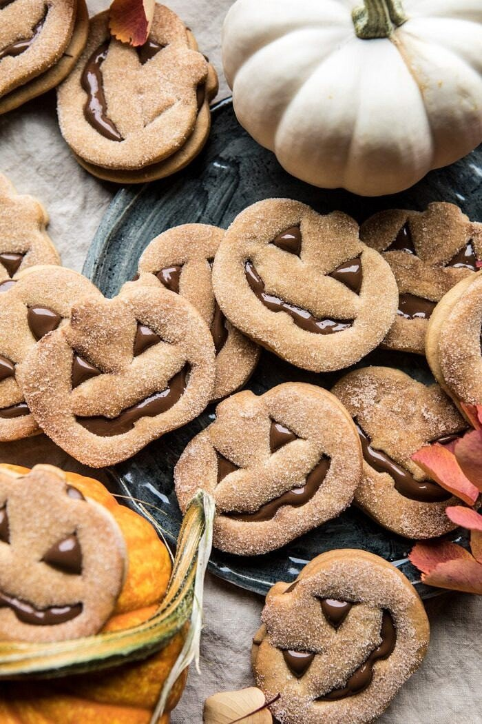 overhead photo of Milk Chocolate Stuffed Jack-O'-Lantern Cookies
