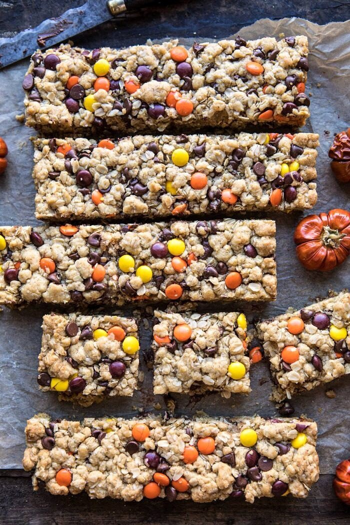 Monster Oatmeal Chocolate Chip Cookie Bars | halfbakedharvest.com #cookies #fall #autumn #halloween #thanksgiving #chocolate #easyrecipes