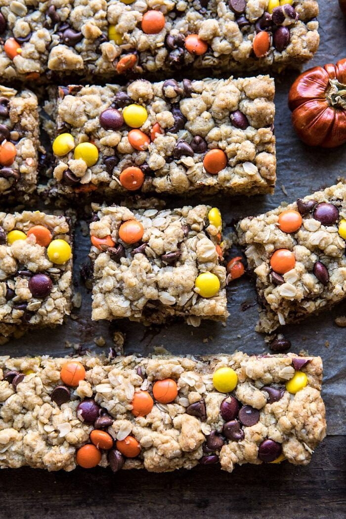 overhead close up photo of Monster Oatmeal Chocolate Chip Cookie Bars