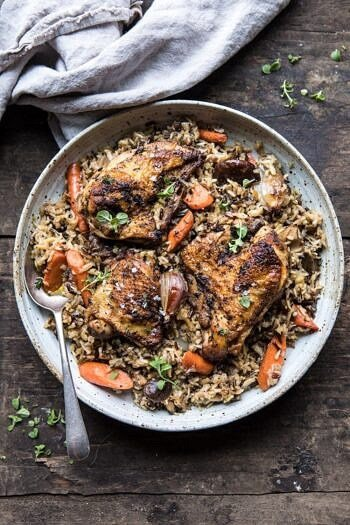 Slow Cooker Herbed Chicken and Rice Pilaf | halfbakedharvest.com #slowcooker #easyrecipes #chicken #wildrice #healthy #fallrecipes