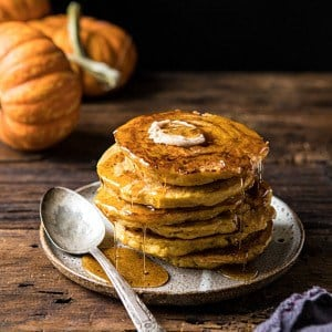 Spiced Pumpkin Cinnamon Roll Pancakes.