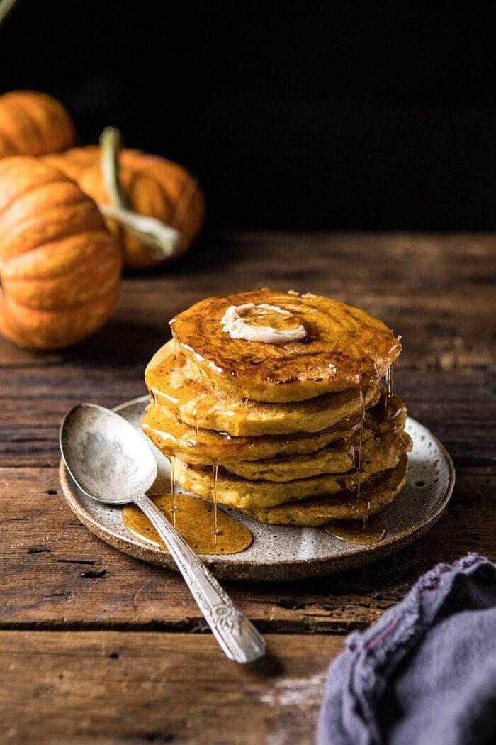 Spiced Pumpkin Cinnamon Roll Pancakes.