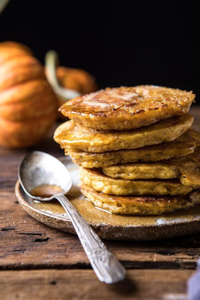 Spiced Pumpkin Cinnamon Roll Pancakes | halfbakedharvest.com #pumpkin #pumpkinpancakes #brunch #breakfast #easyrecipes