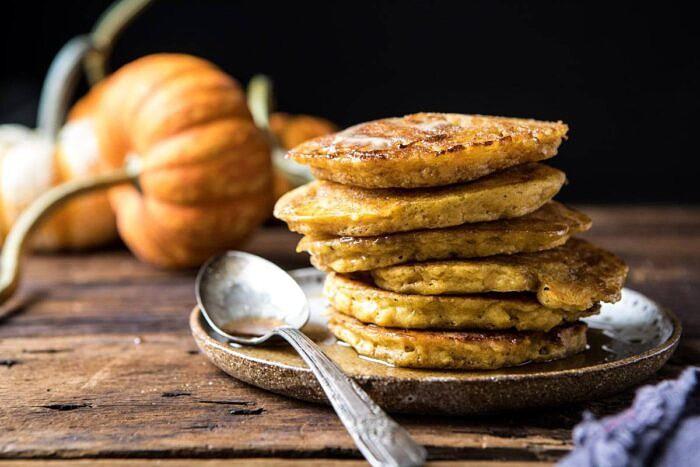 horizontal photo of Spiced Pumpkin Cinnamon Roll Pancakes