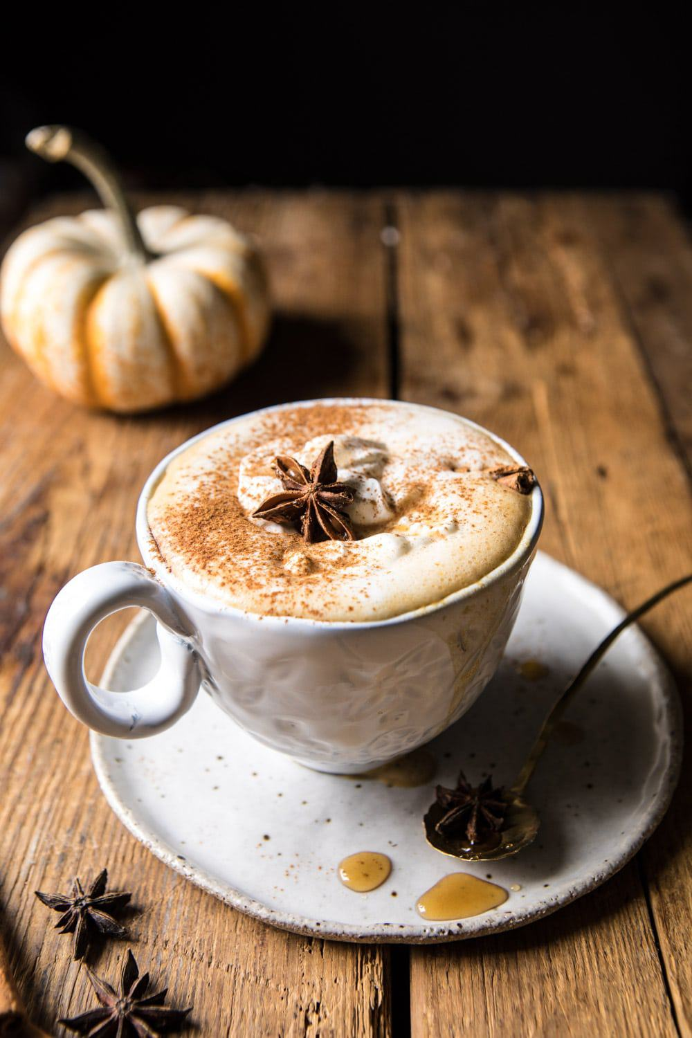 Spiced Pumpkin Maple Latte | halfbakedharvest.com #pumpkinspice #pumpkin #latte #fall #autumn #healthy