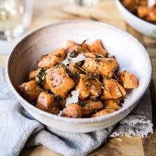 Sweet Potato Gnocchi with Herbed White Wine Pan Sauce.