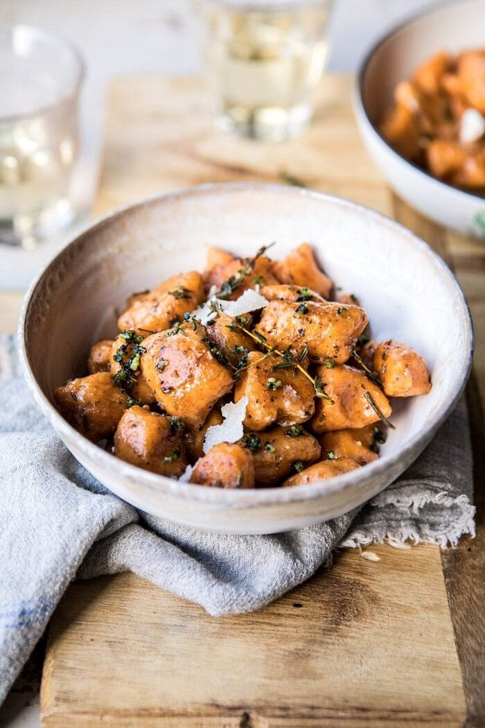Sweet Potato Gnocchi with Herbed White Wine Pan Sauce | #fallrecipes #simple #cozyrecipes #sweetpotato #gnocchi