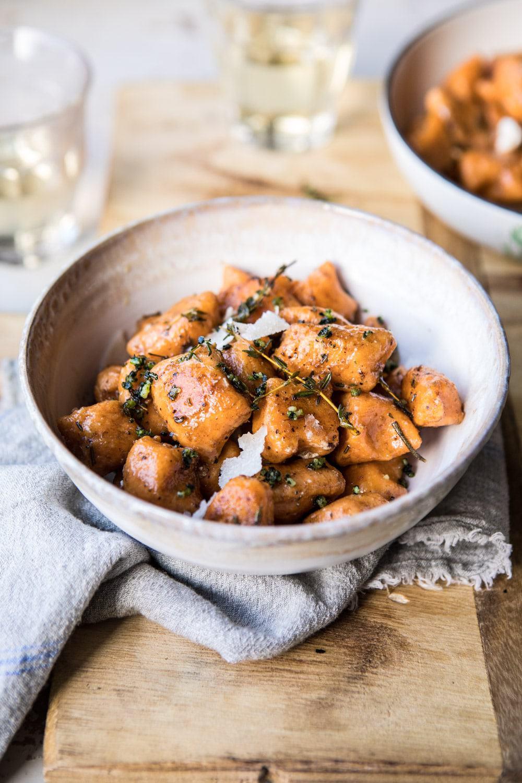 Sweet Potato Gnocchi with Herbed White Wine Pan Sauce | #fallrecipes #simple #cozyrecipes #sweetpotato #gnocchi
