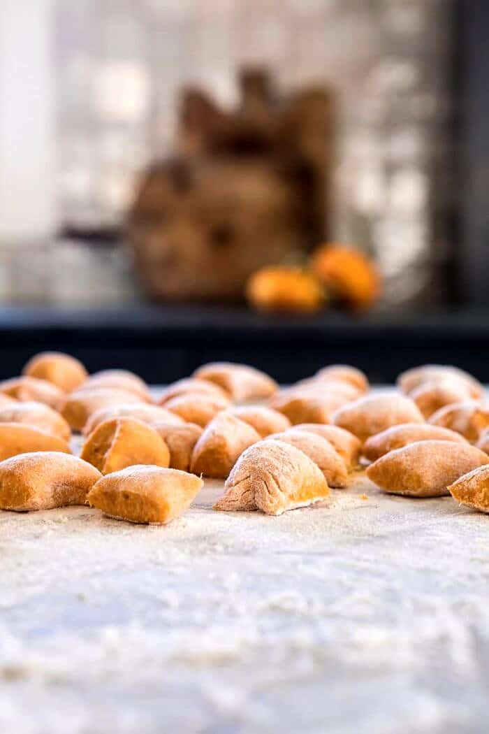 Sweet Potato Gnocchi before boiling on boiling with flour