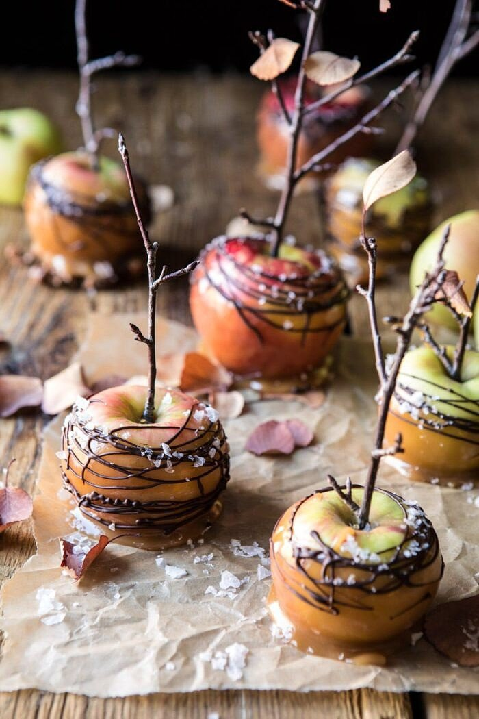 Sweet and Salty Chocolate Drizzled Cider Caramel Apples | halfbakedharvest.com #fallrecipes #apples #caramel #hallaween #thanksgiving
