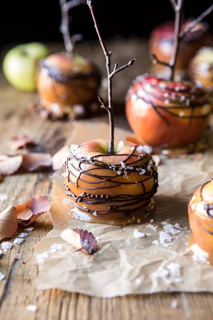 close up photo of Sweet and Salty Chocolate Drizzled Cider Caramel Apples