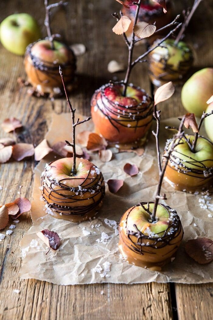 front on photo of Sweet and Salty Chocolate Drizzled Cider Caramel Apples