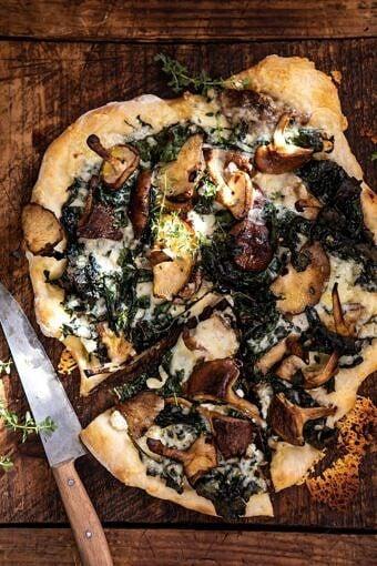 Roasted Mushroom Kale Pizza | halfbakedharvest.com #pizza #mushrooms #winter #fall #autumn #kale #Italian