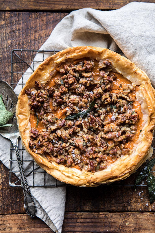 Bourbon Pecan Sweet Potato Phyllo Casserole | halfbakedharvest.com #sweetpotato #thanksgiving #holidayrecipes #fall #autumn