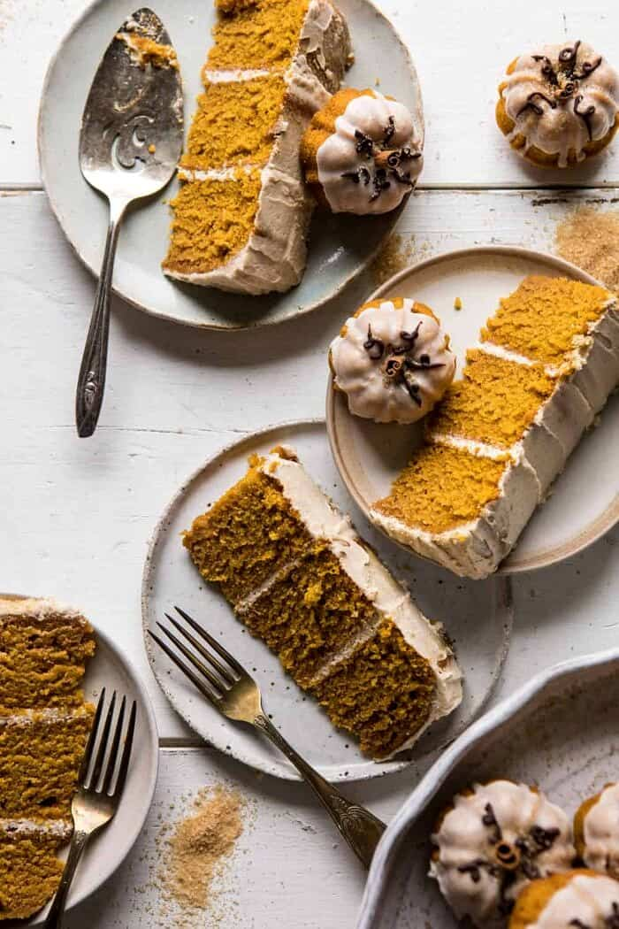 overhead photo of Chai Pumpkin Cake slices