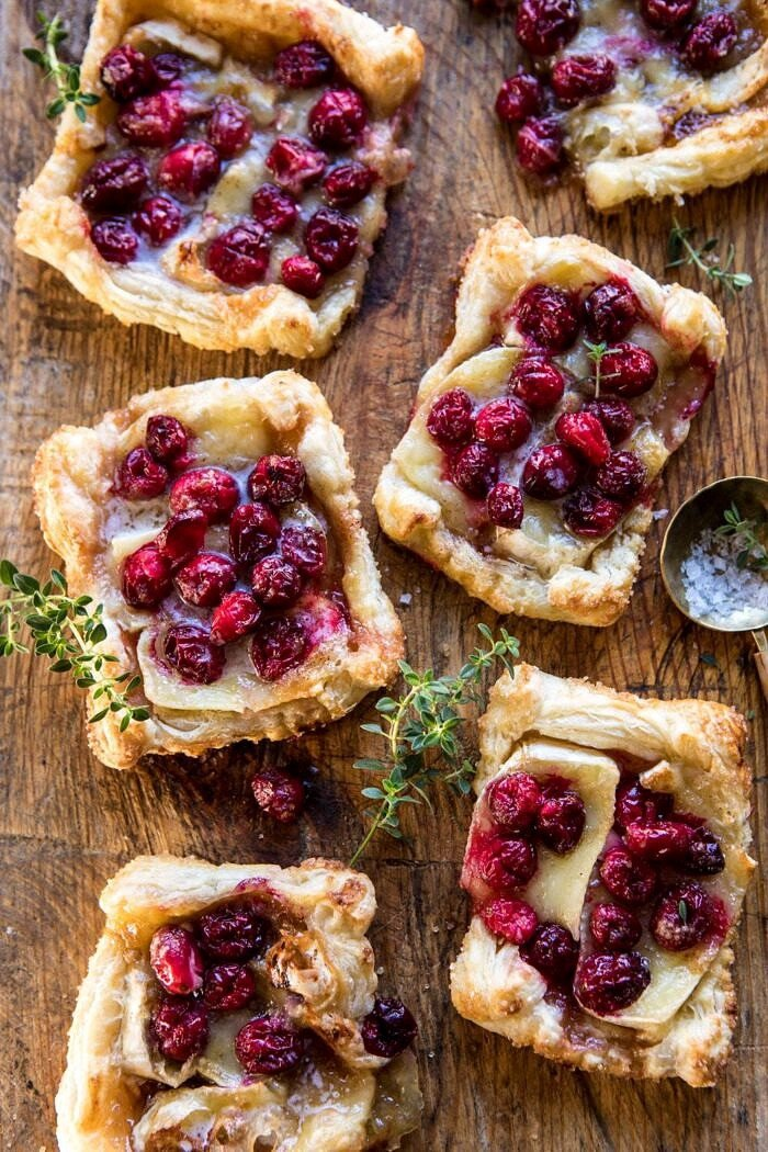 overhead photo of Cranberry Brie Pastry Tarts