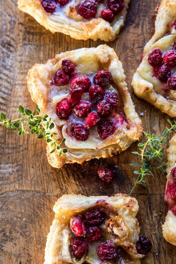 overhead close up photo of Cranberry Brie Pastry Tarts