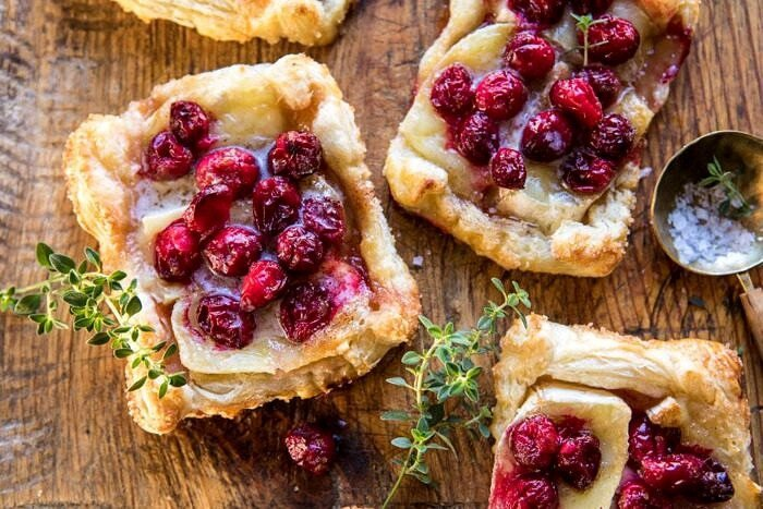 horizontal photo of Cranberry Brie Pastry Tarts
