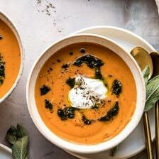Golden Sweet Potato Soup with Burrata and Sage Pesto.