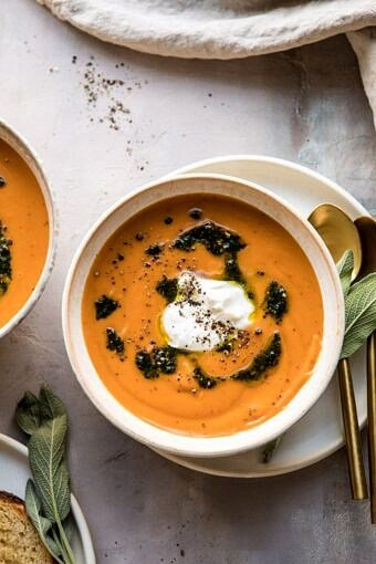 Golden Sweet Potato Soup with Burrata and Sage Pesto | halfbakedharvest.com #sweetpotato #soup #healthy #fall #autumn #winter #thanksgiving