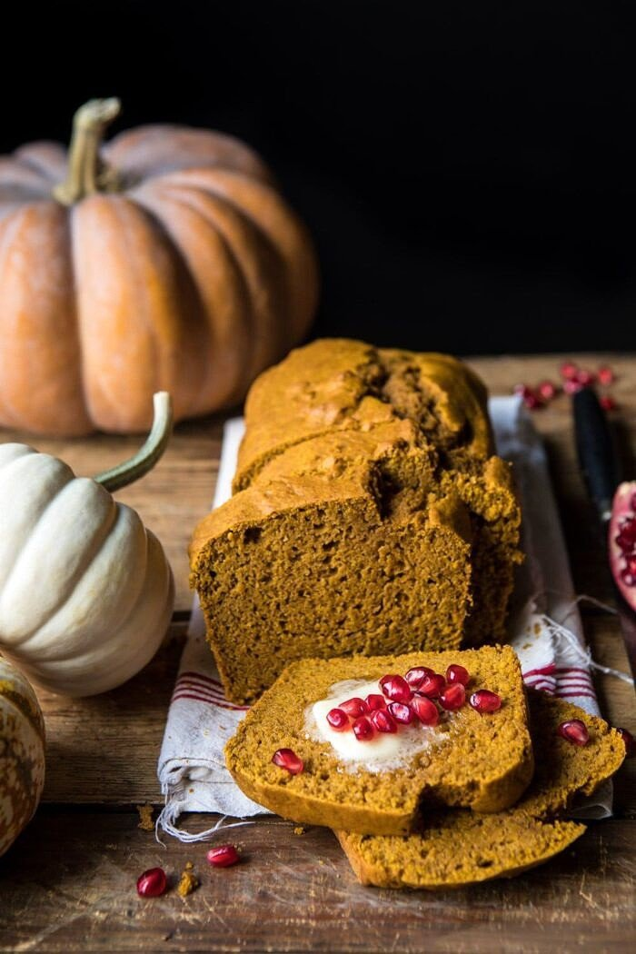 side angle photo of Healthy Pumpkin Ginger Bread with pumpkins in photo