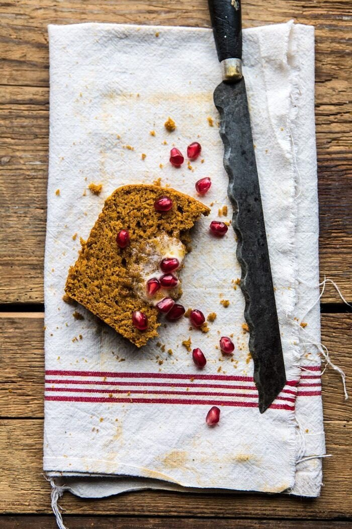 overhead photo of Healthy Pumpkin Ginger Bread slice with knife