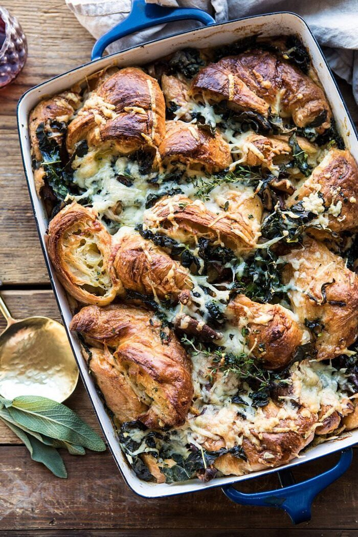 overhead photo of Herby Mushroom Croissant Stuffing