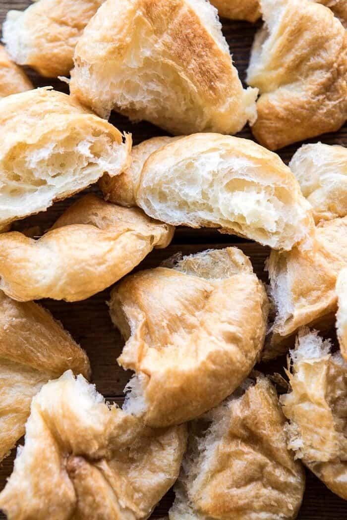 overhead photo of croissants