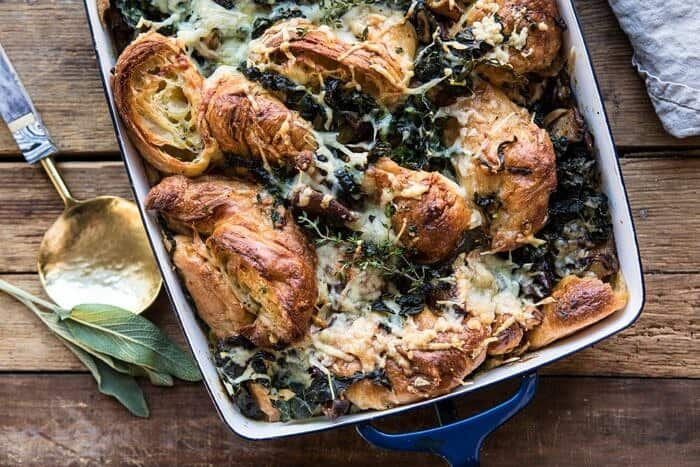 horizontal photo of Herby Mushroom Croissant Stuffing