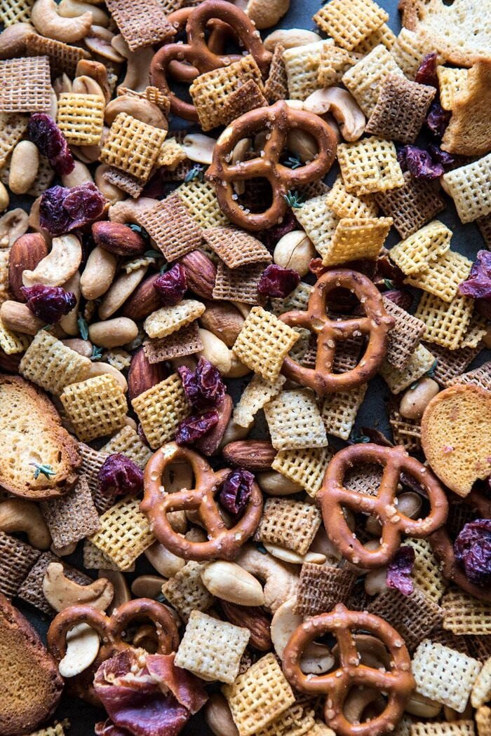 overhead photo of chex mix