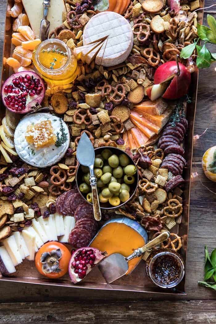 close up overhead photo of Holiday Cheese Board