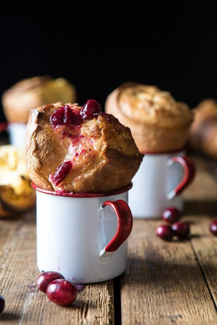 close up of Perfect Popovers with Cranberry Butter