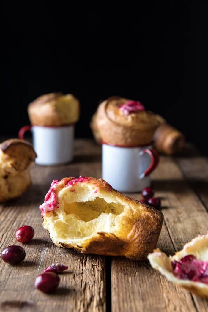 broken in half Perfect Popovers with Cranberry Butter