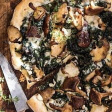Roasted Mushroom Kale Pizza | halfbakedharvest.com #pizza #mushrooms #winter #fall #autumn #kale #Italian