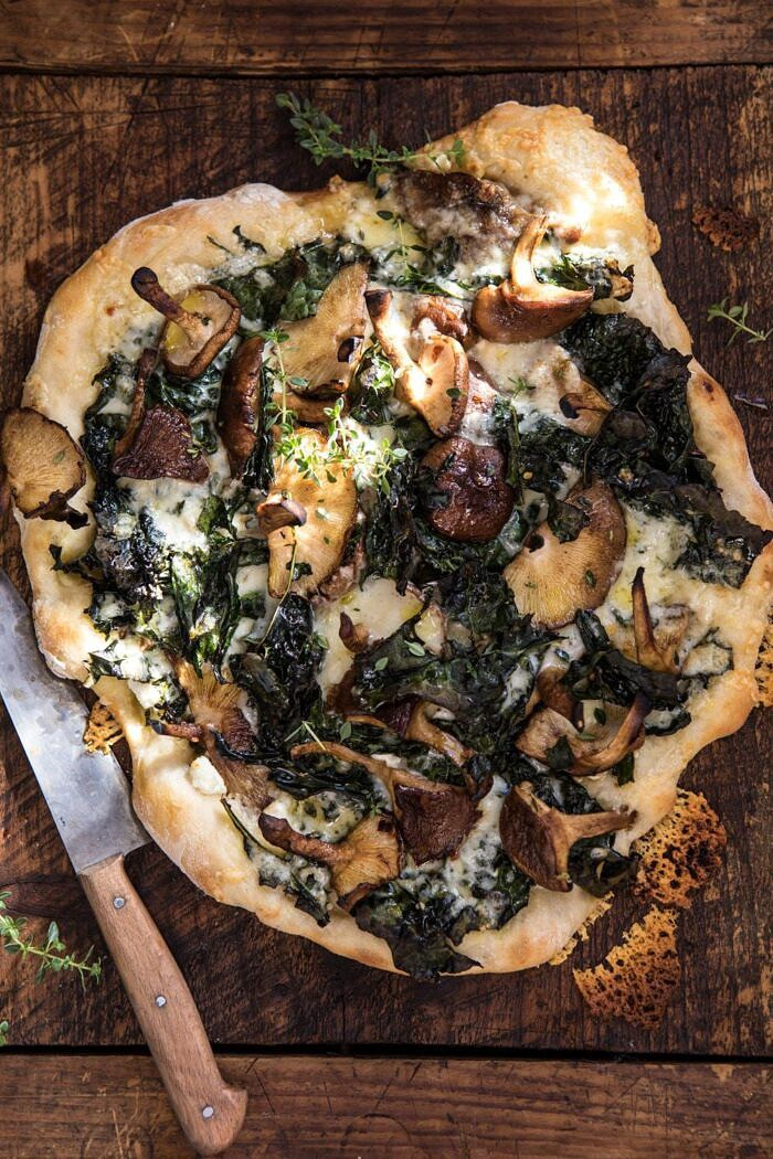 overhead photo of Roasted Mushroom Kale Pizza