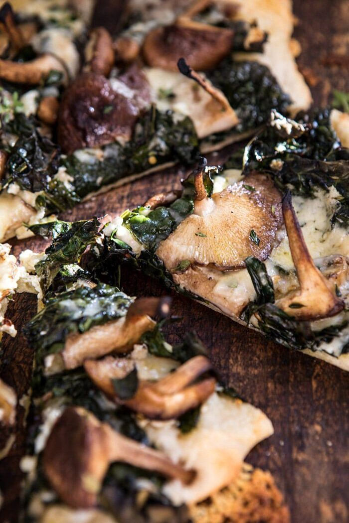 close up side angle photo of Roasted Mushroom Kale Pizza