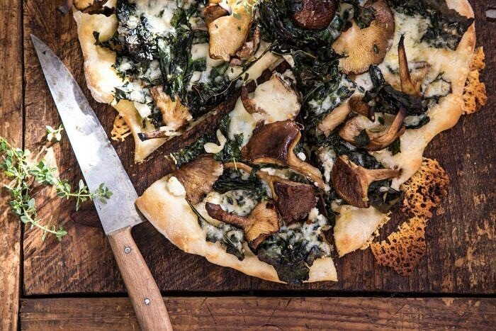 horizontal photo of Roasted Mushroom Kale Pizza
