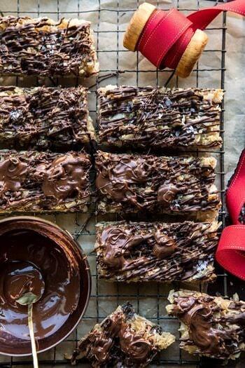 Salted Chocolate Coconut Bars | halfbakedharvest.com #chocolate #coconut #dessert #Thanksgiving #Christmas #holiday