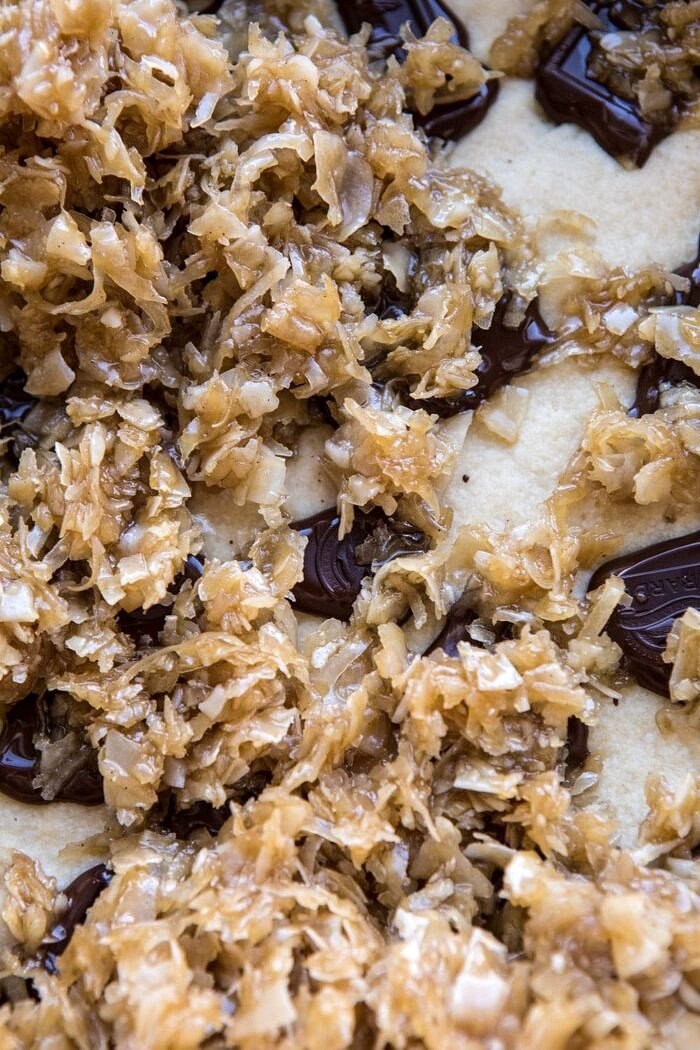 overhead photo of Salted Chocolate Coconut Bars before baking