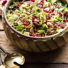 Shredded Brussels Sprout Bacon Salad with Warm Cider Vinaigrette.