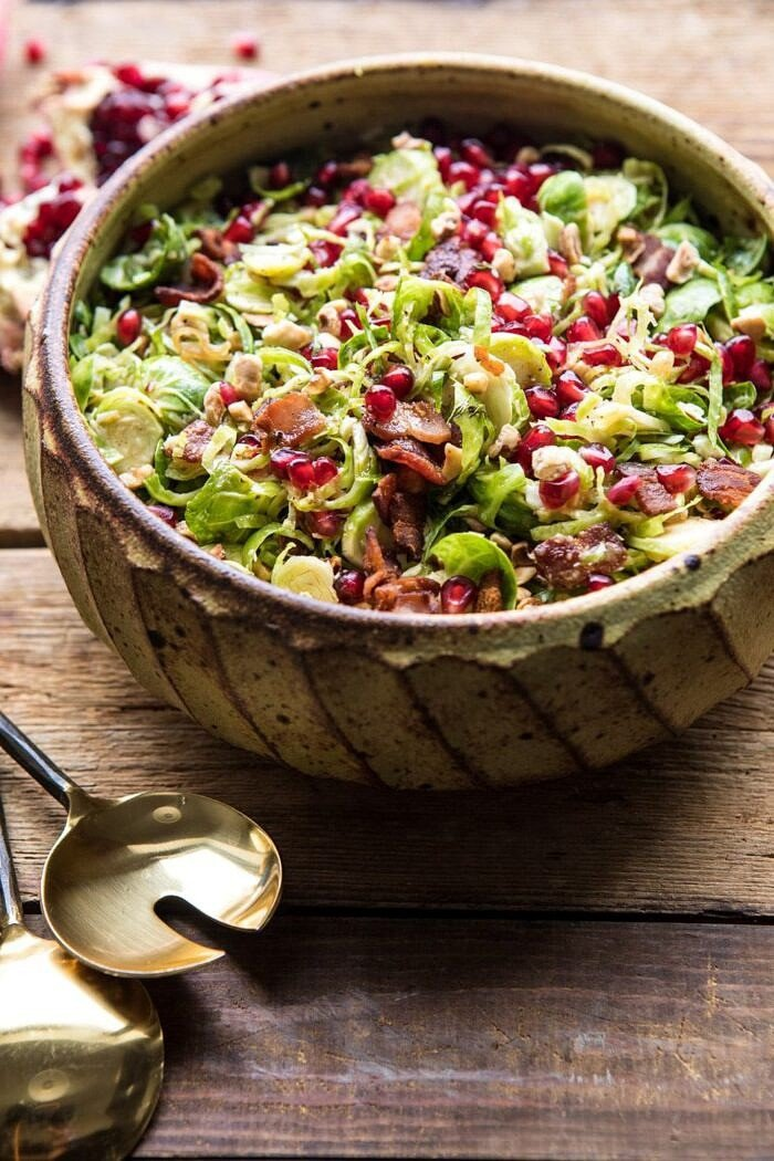side angle photo of Shredded Brussels Sprout Bacon Salad with Warm Cider Vinaigrette