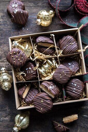 Slice n' Bake Chocolate Covered Peanut Butter Cookies | halfbakedharvest.com #cookies #Christmas #easyrecipes #chocolate #peanutbutter