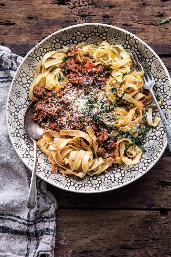 Slow Cooker Vodka Bolognese Pasta   halfbakedharvest.com #pasta #italian #bolognese #slowcooker