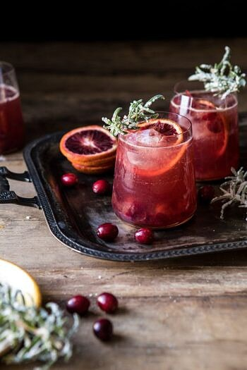 Spiced Cranberry Rosé Spritzers.