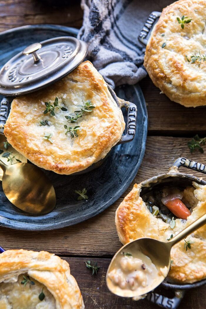 Turkey and Wild Rice Pot Pie with filling exposed
