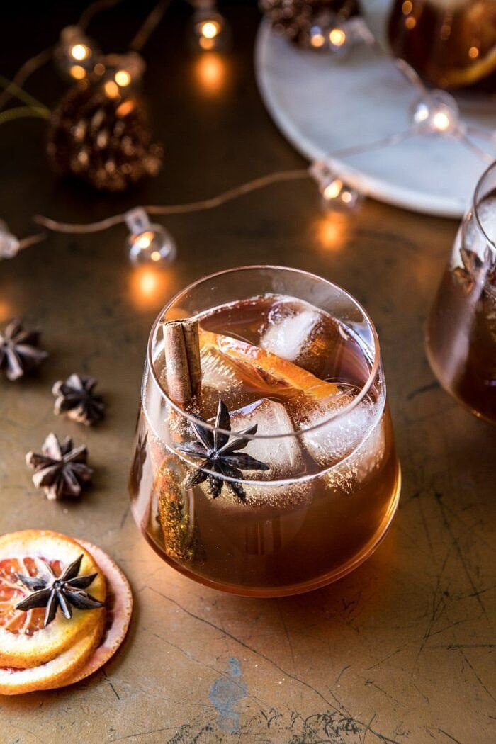 overhead photo of Vanilla Chai Old Fashioned