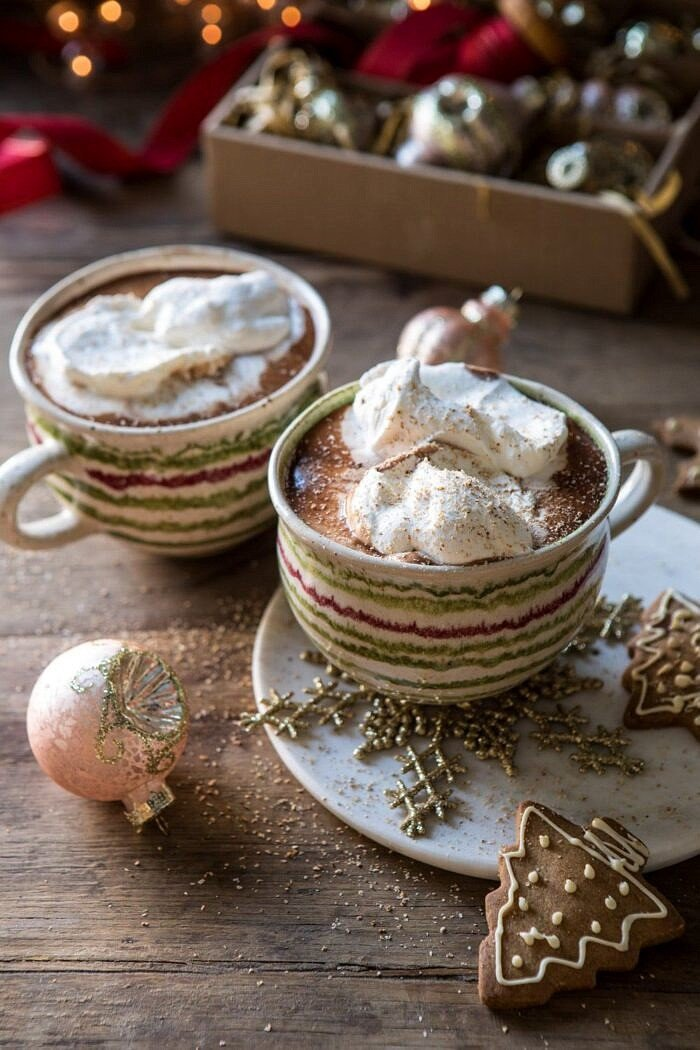 front on photo of Vanilla Mocha Hot Cocoa with whipped cream and cookies