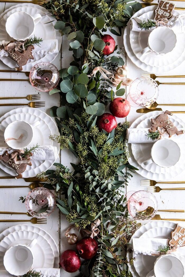 overhead photo of An Easy Christmas Tablescape